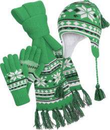 Green winter set - hat, scarf, gloves COMBIK - NBWS2865K