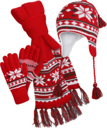 Red winter set - hat, scarf, gloves COMBIK - NBWS2865K