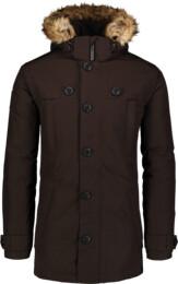 Hnedý pánsky páperový kabát STUD - NBWJM6919