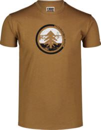 Hnědé pánské bavlněné tričko TRICOLOR